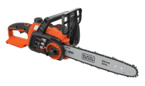 B+D cordless chainsaw with battery and charger